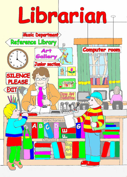 Library clipart busy Colouring Librarian stamping Book Librarian