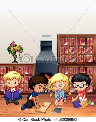 Library clipart childrens room  reading of the Children