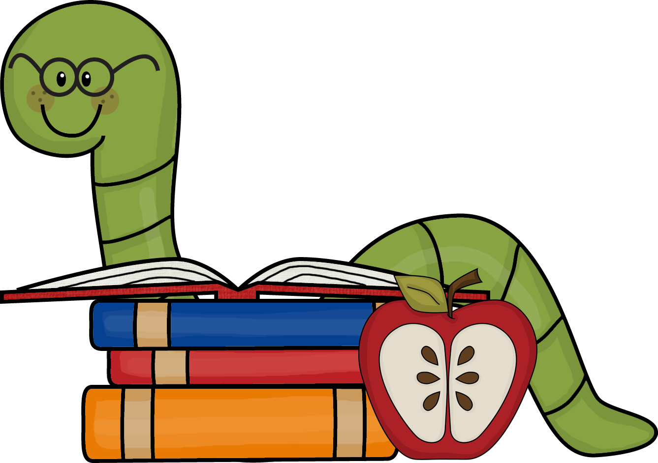 Library clipart cute Worm Cute Book Art Download
