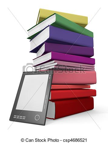 Library clipart digital library Digital csp4686521 Digital leaning and
