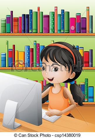 Library clipart graphic Csp14380019 computer Art the the