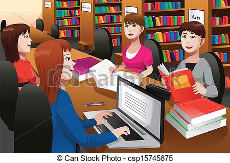 Library clipart graphic Of studying a library a