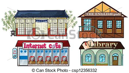 Library clipart graphic Vectors  building library cafe