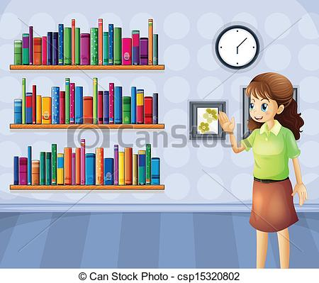 Library clipart illustration Vector Clipart library inside librarian