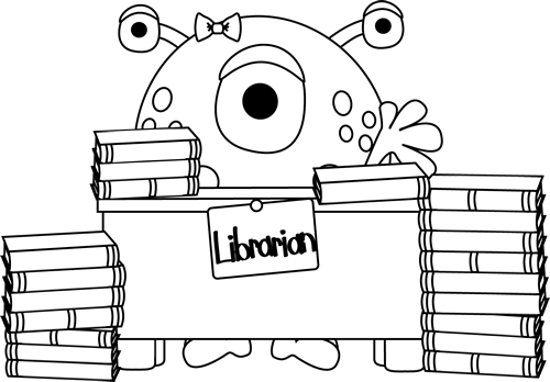 Library clipart librarian 8967 Black White and Library