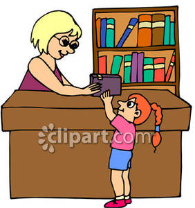 Women clipart librarian Library Card card library Girl_Checking_Out_Library_Bo