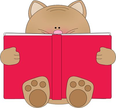 Library clipart reader Cat reading and books images