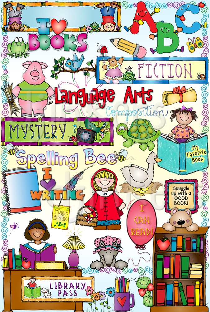 Library clipart reading and writing  & art reading of