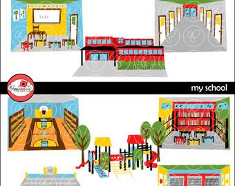 Library clipart school playground Etsy Teacher Clipart: School Writing