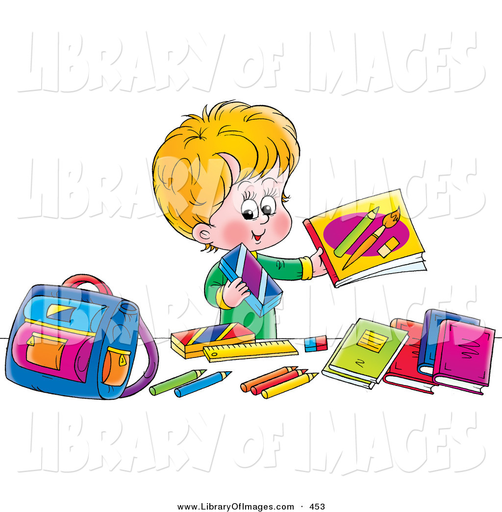 Library clipart school stuff His Caucasian Boy Colorful Happy