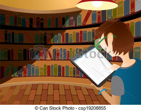 Library clipart vector Device Teenager reading Vector in