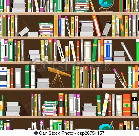 Library clipart vector The Cartoon in of bookshelves
