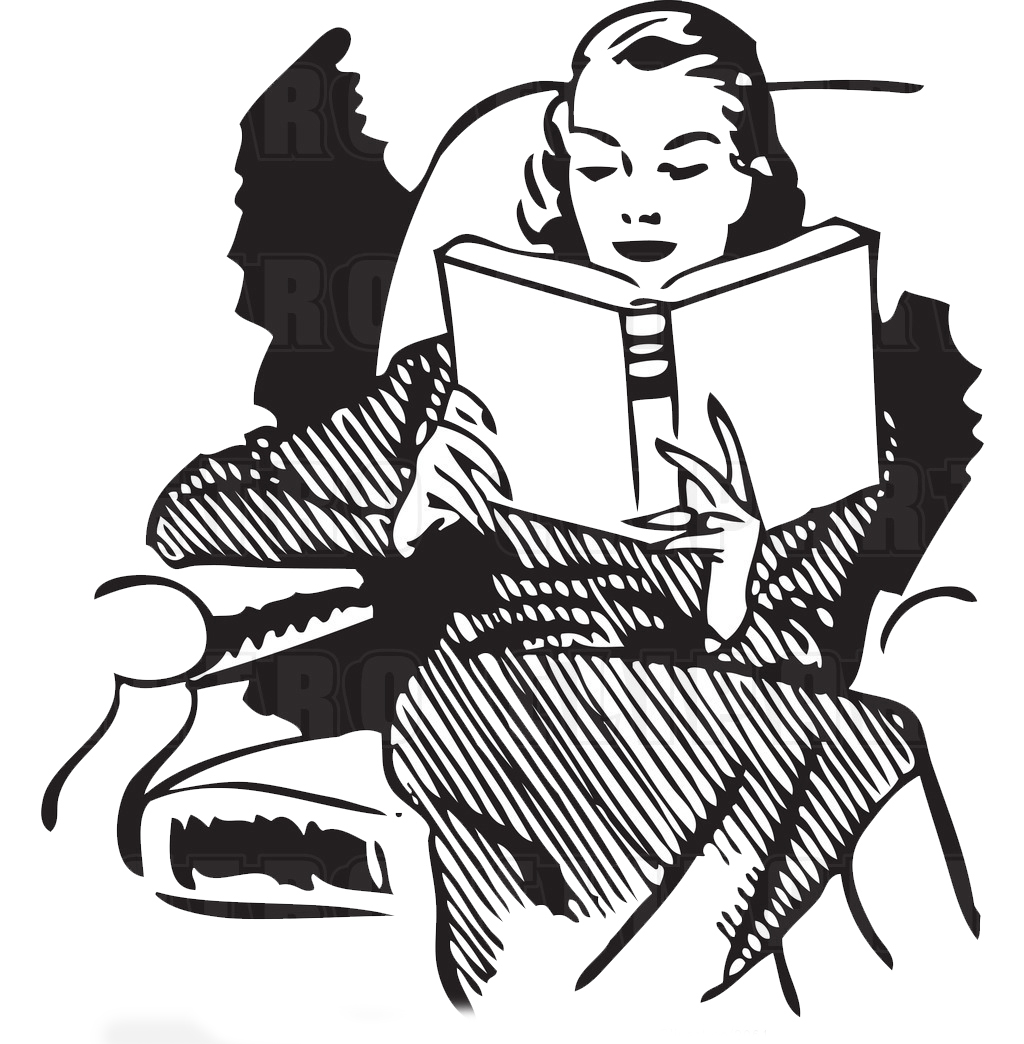 Library clipart vintage Art woman Become friend reading