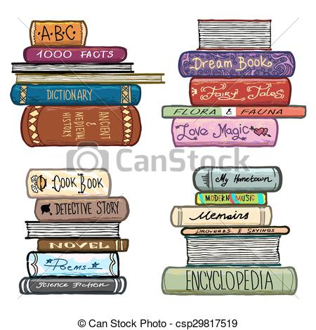 Library clipart vintage Vintage drawn hand of Vector