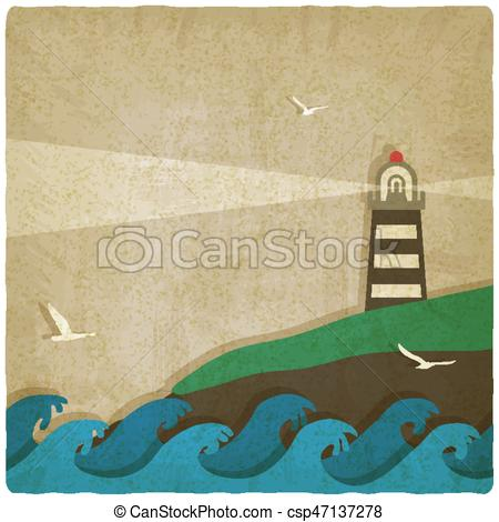 Lighhouse clipart cliff On background  by sea
