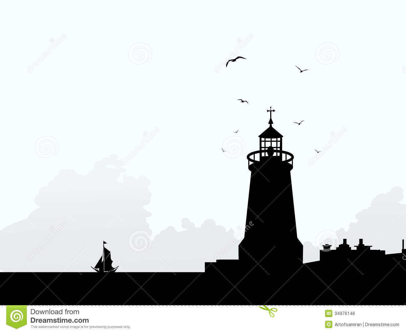 Lighhouse clipart silhouette  lighthouse vector Graphics Images