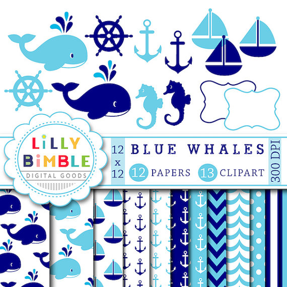 Navy clipart seahorse And off Clipart Paper Scrapbook