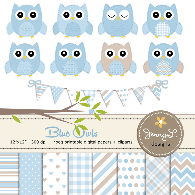 Light Blue clipart owl Owls digital Blue This file