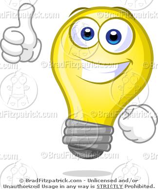 Bulb clipart cartoon Clip  Sign with Blank