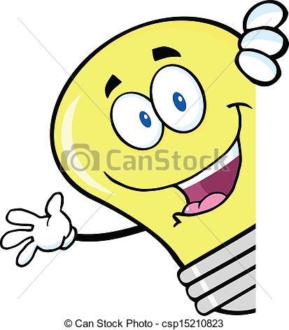 Bulb clipart cartoon Csp15210823 Sign Waving A Behind