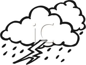 Thunderstorm clipart black and white White  Clipart Storm Black