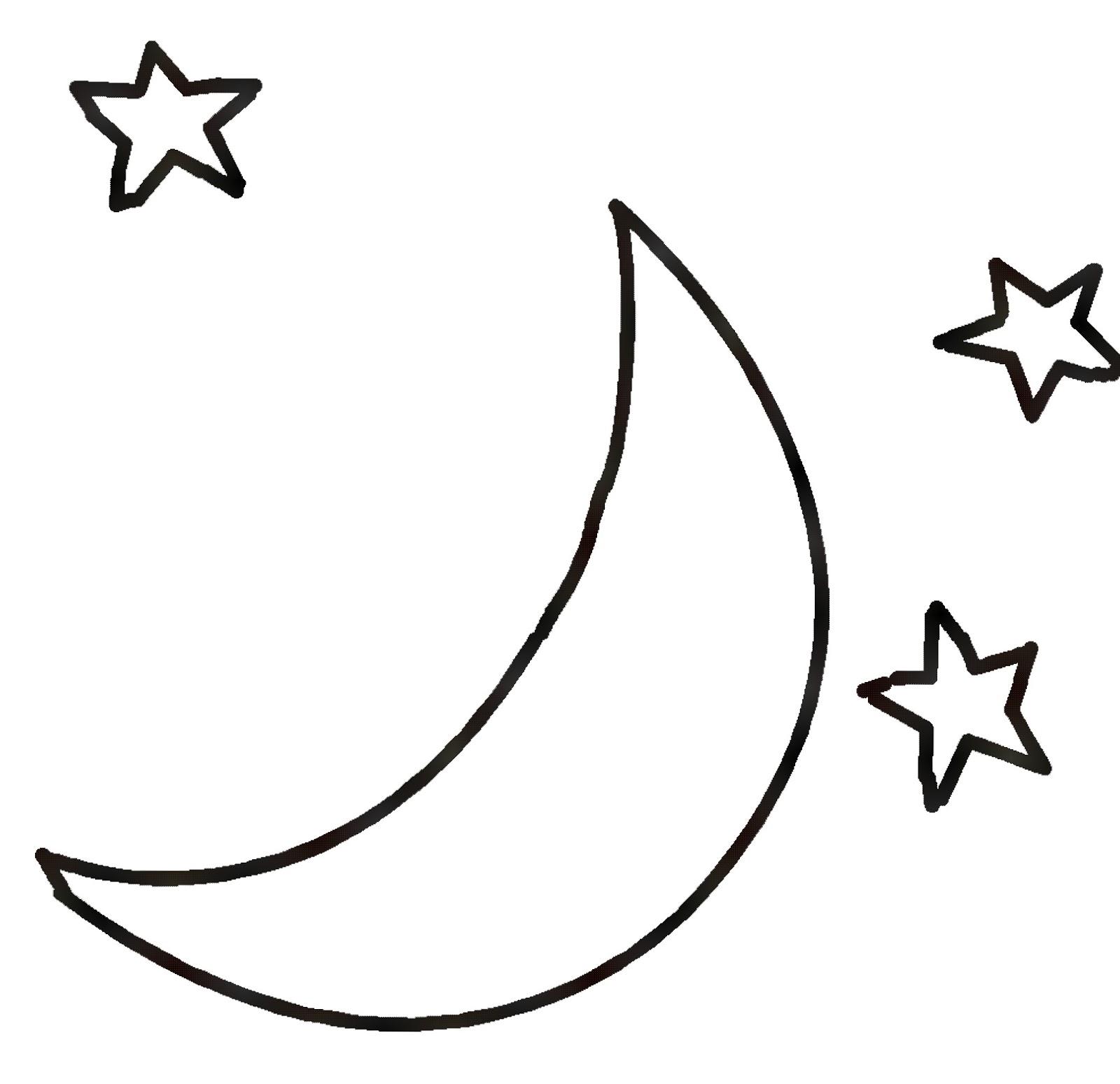 Lunar clipart black n white Kid Moon Stars Clipart Moon