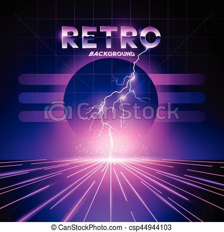 Lightening clipart neon Of 1980's  csp44944103 Retro