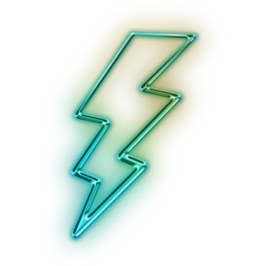 Lightening clipart neon  Green Icon Free Version