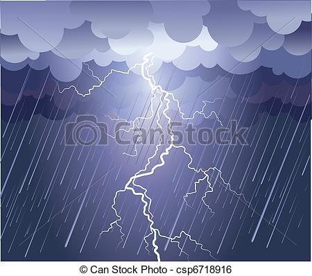 Lightening clipart rain cloud Image csp6718916 Lightning dark Lightning