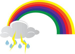 Lightening clipart rain cloud Art rainbow Lightning of Lightning