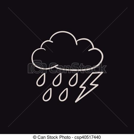 Lightening clipart sketch With lightning Cloud bolt of