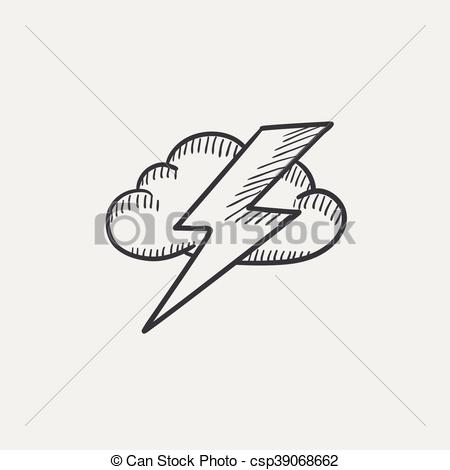Lightening clipart sketch And sketch and icon Cloud