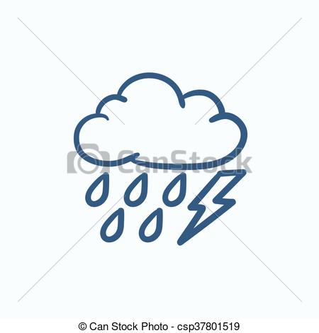 Lightening clipart sketch Rain drawn rain Cloud sketch