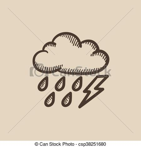 Lightening clipart sketch With lightning with bolt Cloud