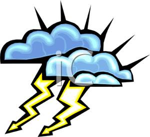 Lightening clipart stormy weather Bolts Two Clouds and Bolts