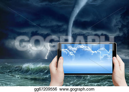 Lightening clipart stormy weather Reality tablet abstract weather forecast