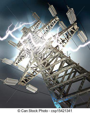 Lightening clipart voltage Lightning Drawing  tower voltage