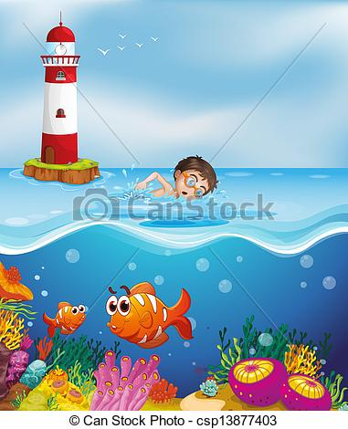 Lighthouse clipart beach swimming Lighthouse beach the at swimming