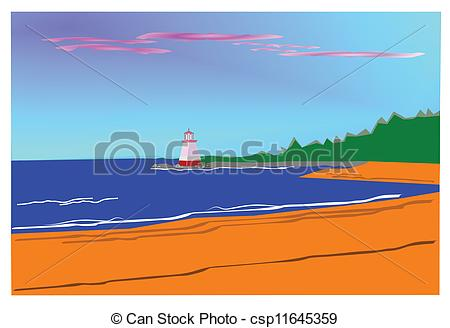 Lighthouse clipart beach swimming  lighthouse of Vector on