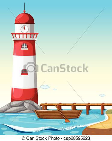 Lighthouse clipart beach swimming Of Illustration Vector lighthouse Beach