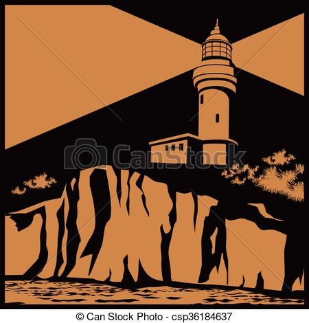 Lighthouse clipart cliff Stylized on illustration lighthouse