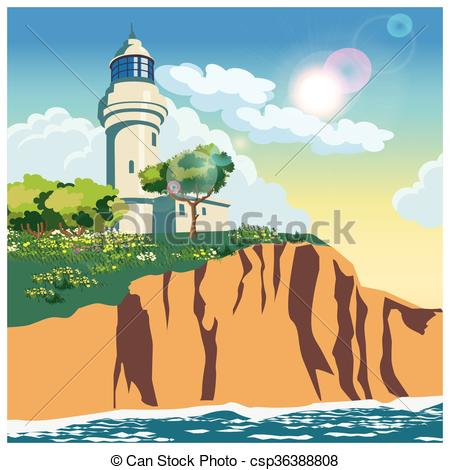 Lighthouse clipart cliff Of illustration on a cliff