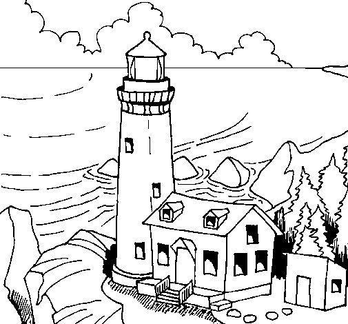 Lighthouse clipart faros 1 Dibujo de Colorear Pinterest