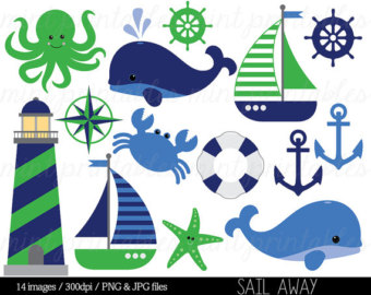 Blue Whale clipart sailboat Clipart clip Sailboat Nautical Anchor