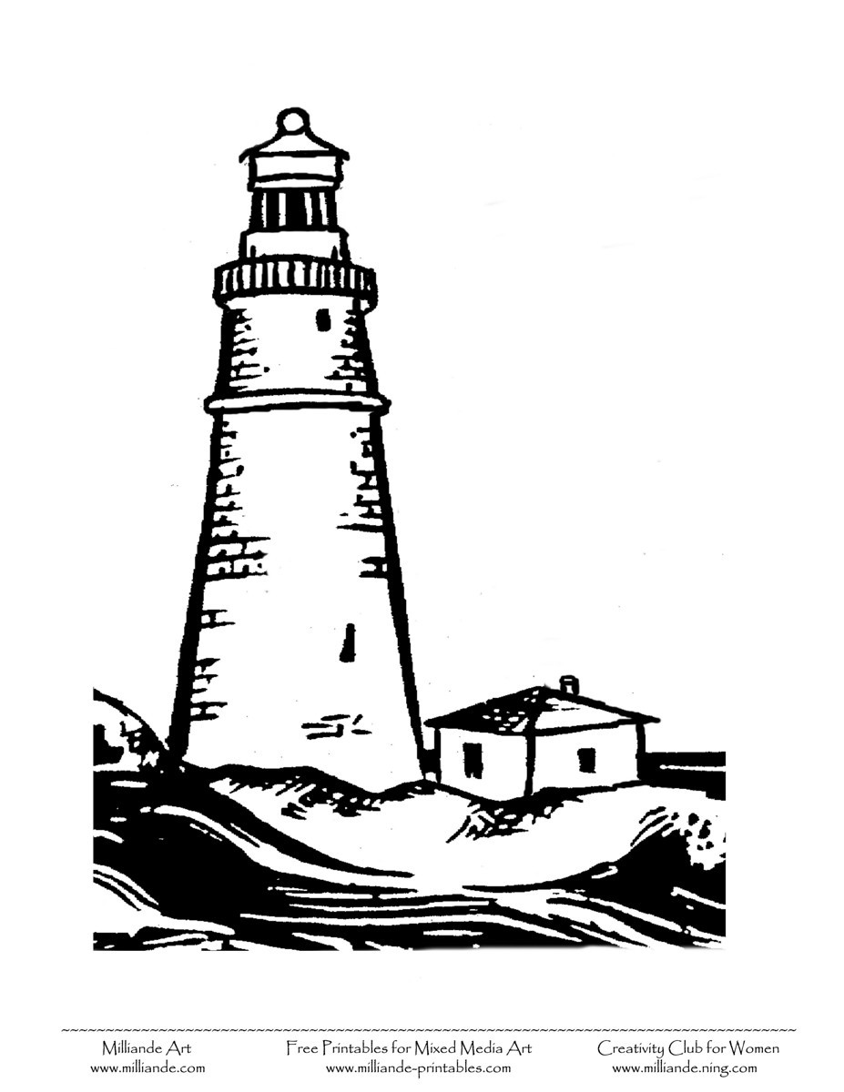 Lighthouse clipart line drawing Clipart and Free pages Coloring