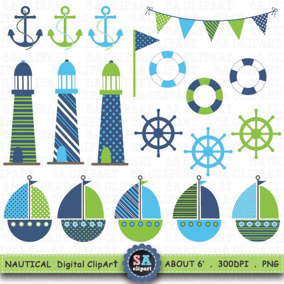 Sailing clipart themed Etsy Ocean Nautical