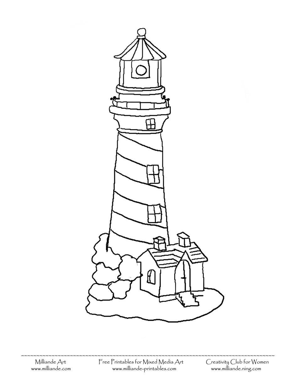 Lighthouse clipart outline Free Free With  Of