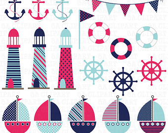 Pink clipart nautical Navy Ca017 Anchor Sailboats Pink