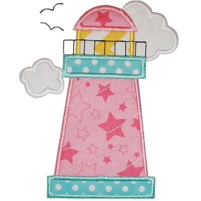Lighthouse clipart pink Image 1 Planet Applique Inc