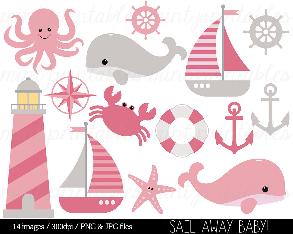 Pink clipart nautical Etsy whale Sailboat clipart Clipart